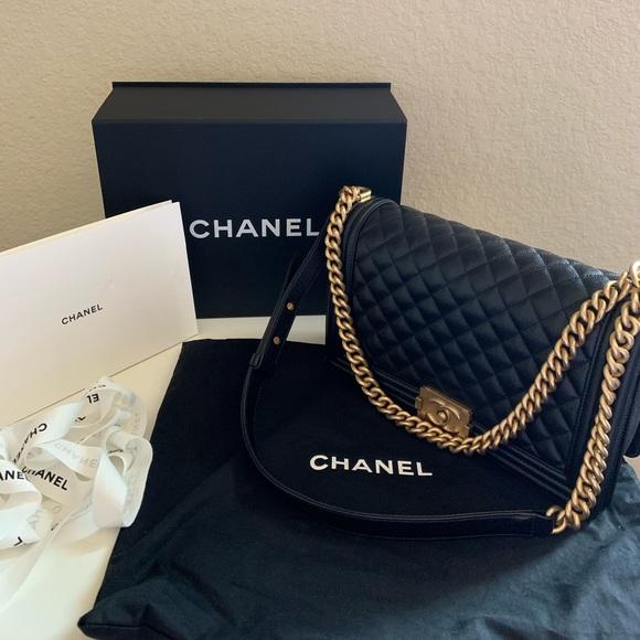 CHANEL Handbags - Authentic Chanel Large boy caviar skin gold HW